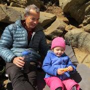 Ella bouldering with Daddy at Farley last winter