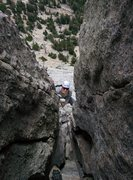 Rock Climbing Photo: The chimney on Cathedral Peak
