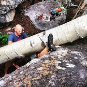 Rock Climbing Photo: Lindsey Schauer working out the new beta....