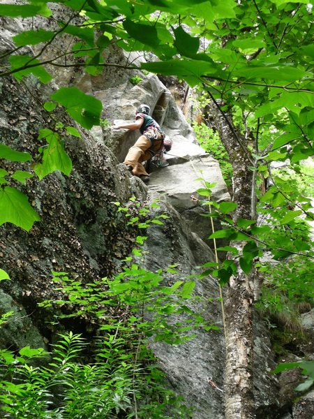 Rock Climbing Photo: Matt finally out of the vegetation and onto the cl...