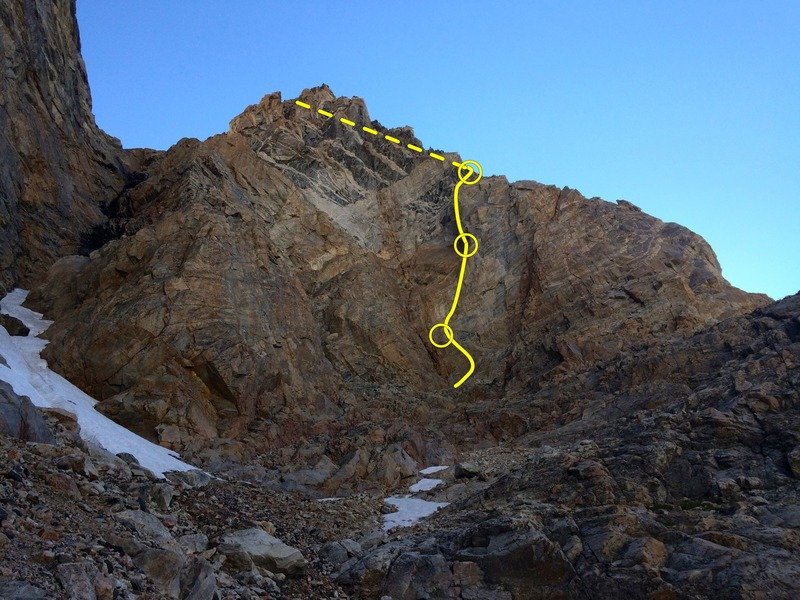 Rock Climbing Photo: Southwest face. route is on the light rock right o...