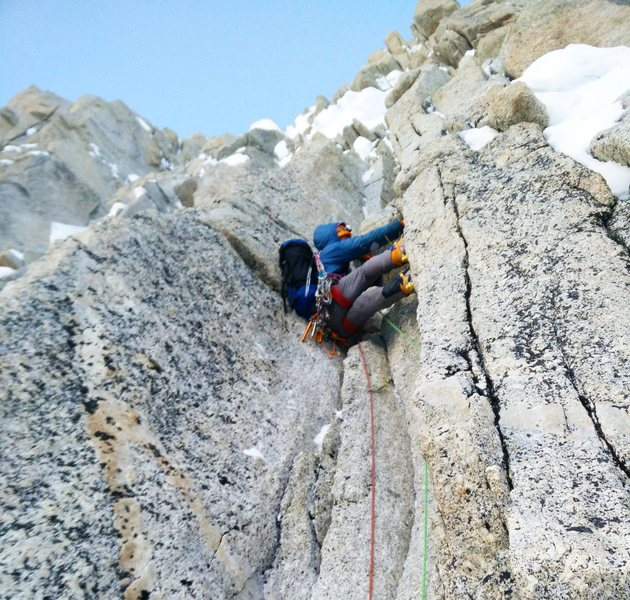 J.D. Merritt on the upper headwall of the French Route<br> <br> https://climbingandjunk.wordpress.com/2015/07/10/mt-hunter-french-route/