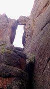 Rock Climbing Photo: The Guillotine chockstone.