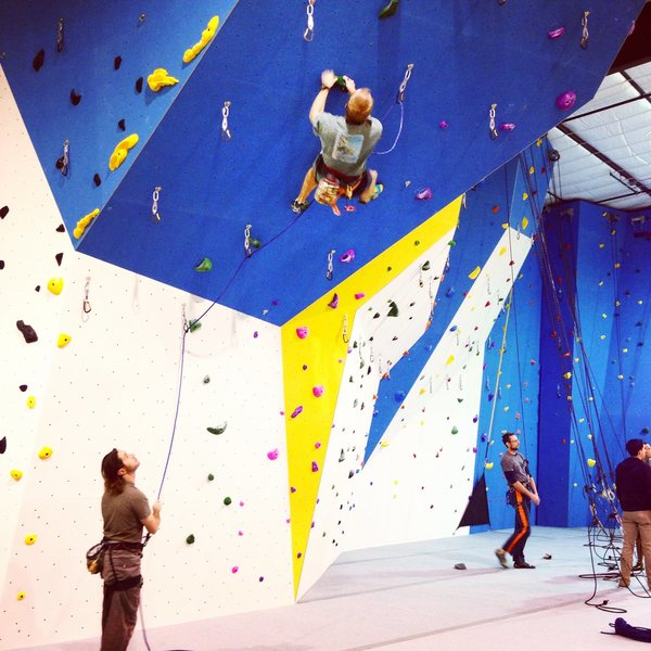 Lead climbing on the steep prow feature at Climb Up in Norman, OK