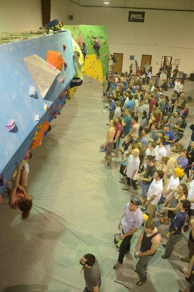 During the 2015 Norman Bouldering Competition at Climb Up in Norman, OK