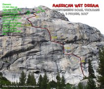 Rock Climbing Photo: Route Overlay American Wet Dream