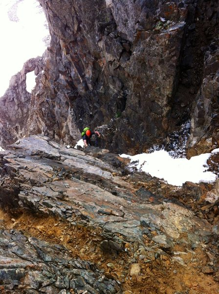 Dan about to embark on his journey through choss nearing the top of Pacific Peak.