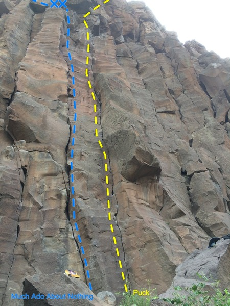 Rock Climbing Photo: Puck follows the thin seam in the middle, right of...