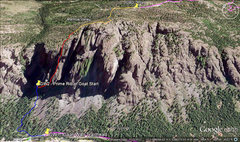 This is a Google Earth overview of the climb which includes the appraoch in blue, climb in red and then the hike to the road out in orange.