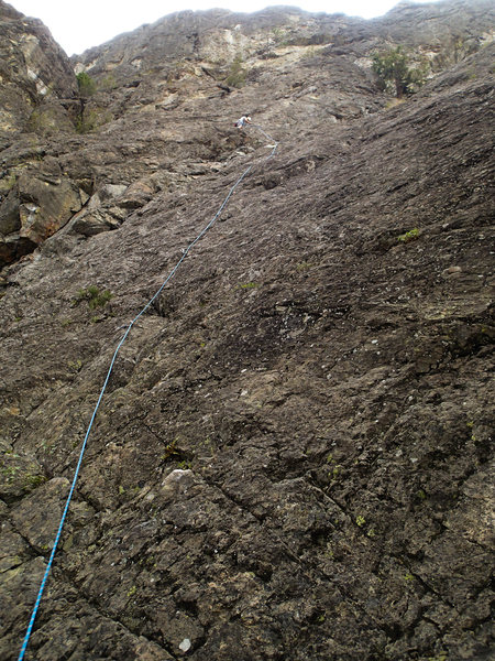 Rock Climbing Photo: This is a good view of the 8th pitch which starts ...