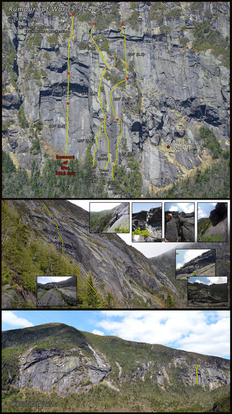 Route overlay, mosaic inset photos and location on Mt. Marcy.
