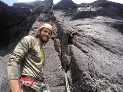 Rock Climbing Photo: Hunter Lombardi below P2 during the FA.