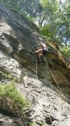 Rock Climbing Photo: My left hand is in a slot on top of the flake. Fin...