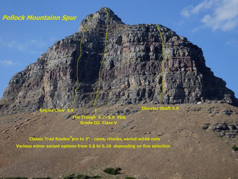Pollock Mtn Spur Routes. The Trough follows the obvious depression in the center of the face. The Eagle's Claw ascends a slightly overhanging wall with a lighting bolt crack. The Elevator Shaft climbs a large chimney slot right of the Trough.