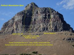 Rock Climbing Photo: Pollock Mtn Spur Routes. The Trough follows the ob...