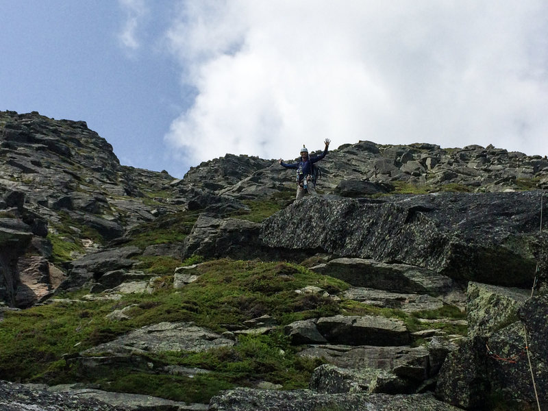 """Julian on the """"diving board"""". Do use alpine draws as the route wanders a bit."""