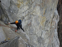 Rock Climbing Photo: The fun exposed slab moves on pitch 3.