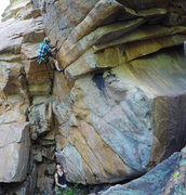 Rock Climbing Photo: Start in the overhanging dihedral.