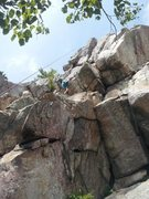 Rock Climbing Photo: James Hong on the roof crux of La Cucharita (no he...