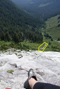Rock Climbing Photo: From belay station of first pitch. Rocky area high...