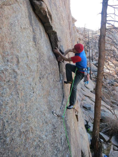 Rock Climbing Photo: Cruising up the flake on the Schmausser Traverse. ...