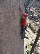 Rock Climbing Photo: A long reach in the crux of Game of Drones.