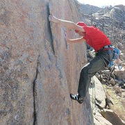 Rock Climbing Photo: Reaching the flake on Game of Drones during the FF...