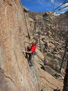 Rock Climbing Photo: Mike Anderson nearing the end of the crux on The S...