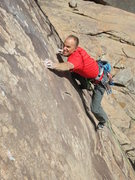 Rock Climbing Photo: Mike Anderson crimping like mad on the crux of The...