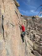 Rock Climbing Photo: Mike Anderson nears the end of the crux section on...
