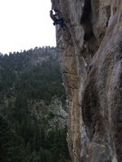 Rock Climbing Photo: Michal gettin' jugs at the roof on his first redpo...