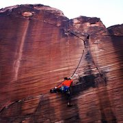 Rock Climbing Photo: Michal on the onsight of this beautiful route. Pho...