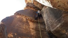 Rock Climbing Photo: Michal leading the first pitch of Nadia's Nine. Th...