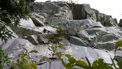 Rock Climbing Photo: Partner popping up through the first crux also sho...