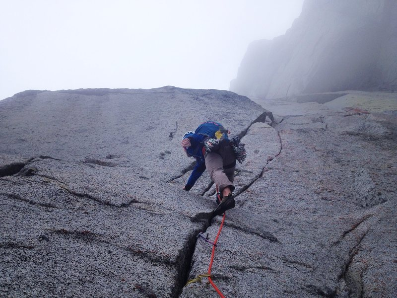 Rock Climbing Photo: Ryan Palo leading the first of the Hard 5.11+ pitc...