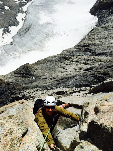 Rock Climbing Photo: Mark Collar following the crux pitch with the Norm...