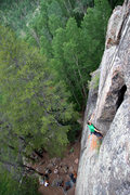 Rock Climbing Photo: J. Weingast beginning the crux section on Quest fo...