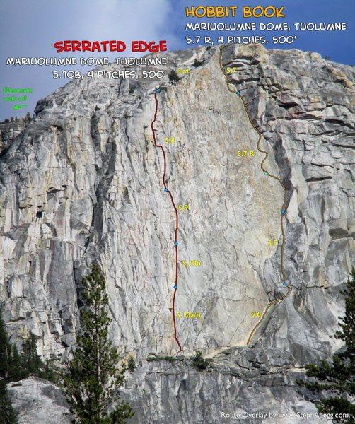 Rock Climbing Photo: Route Overlay: Serrated Edge & Hobbit Book