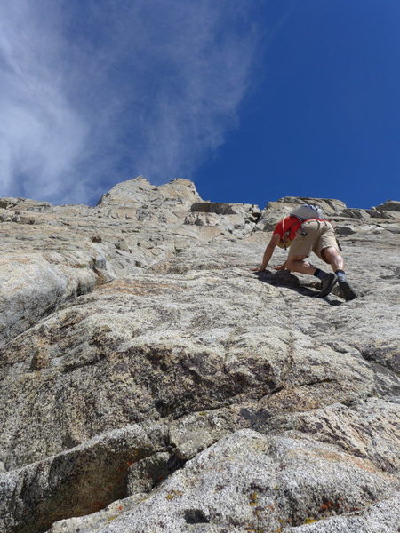 Matt on the class 3-4 slabs just after the waterfall crux section