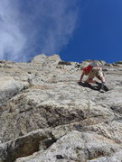 Rock Climbing Photo: Matt on the class 3-4 slabs just after the waterfa...
