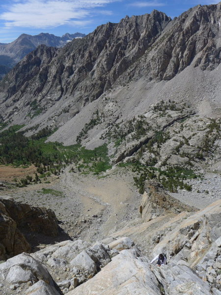 looking back down toward the Paiute Pass trail