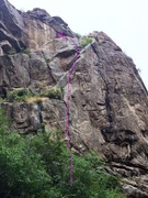 Rock Climbing Photo: Lil' School Girl is the thin crack left of Toy Box...