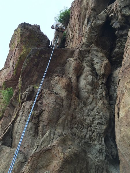 Rock Climbing Photo: The Last Rap.  70'.  Hump a tree and stay to the r...