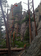 Rock Climbing Photo: Sam between first and second bolt, as viewed from ...
