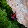 Middle of the second crux?<br> <br> Photo by Adam Bove.