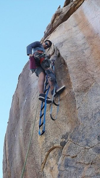Eric working on one of the routes.<br> <br> photo by locker