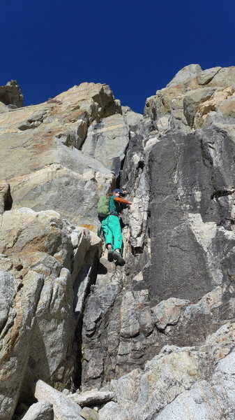Rock Climbing Photo: Amy on the crux pitch (P1)