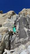 Rock Climbing Photo: Amy on the crux pitch (P1)