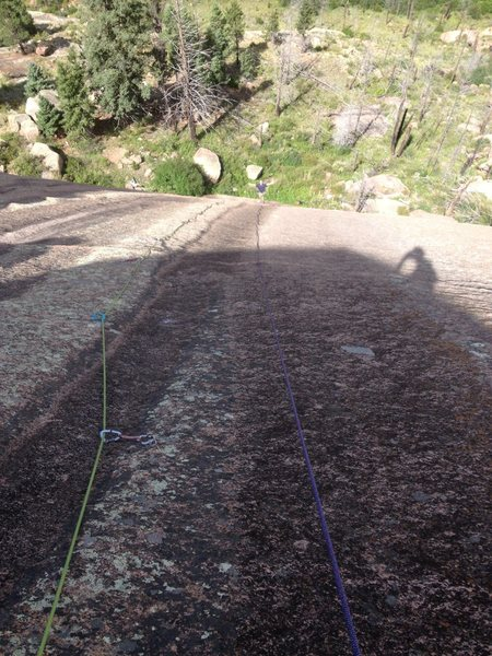 Looking down the second pitch.