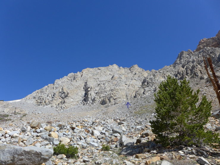 Rock Climbing Photo: The start is marked by the purple arrow.